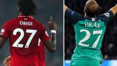 Indosport - Pemain Liverpol, Divock Origi dan pemain Tottenham Hotspur Lucas Moura dalam laga Liga Champions. Foto: Robbie Jay Barratt/Matthew Ashton/Getty Images