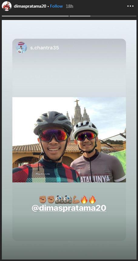 Dimas Pratama sedang bersepeda di Spanyol. Copyright: @dimaspratama20