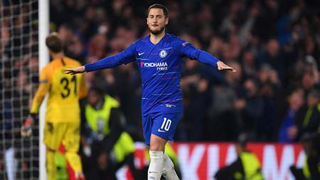 Selebrasi pemain megabintang Chelsea, Eden Hazard setelah memastikan timnya lolos ke final Liga Europa 2018-19. - INDOSPORT