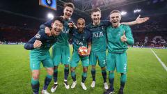 Indosport - Selebrasi para pemain Tottenham Hotspur saat memastikan diri ke final Liga Champions 2018-19.