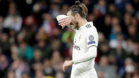 Ekspresi kecewa dari pemain bintang Real Madrid, Gareth Bale. - INDOSPORT