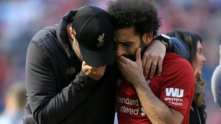 Pemain Liverpool, Mohamed Salah da Jurgen Klopp (Simon Stacpoole/Offside/Getty Images) Copyright: (Simon Stacpoole/Offside/Getty Images)