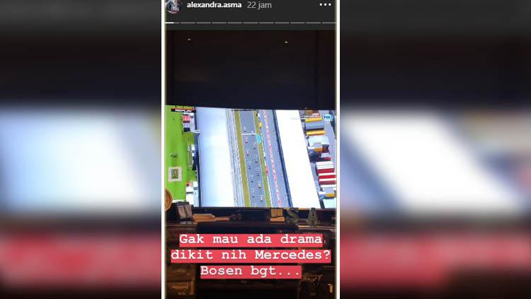 Alexandra Asma, mantan pembalap Indonesia yang mengomentari ajang balap F1 2019 melalui instastory-nya. Copyright: INSTAGRAM ALEXANDRA ASMA