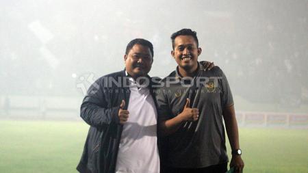 Manajer PSIS Semarang, Wahyu Winarto (kiri), dalam pertandingan Liga 1 2019. - INDOSPORT