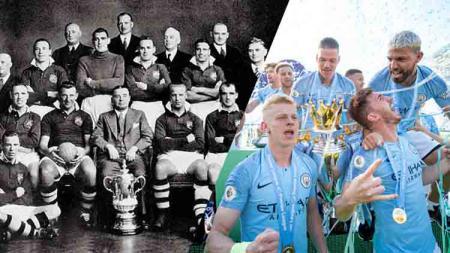 Manchester City saat juara Piala FA 1904 dan musim ini 2018/19. - INDOSPORT