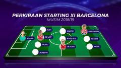 Indosport - Perkiraan starting XI Barcelona musim 2018/19. Grafis: Tim/Indosport.com