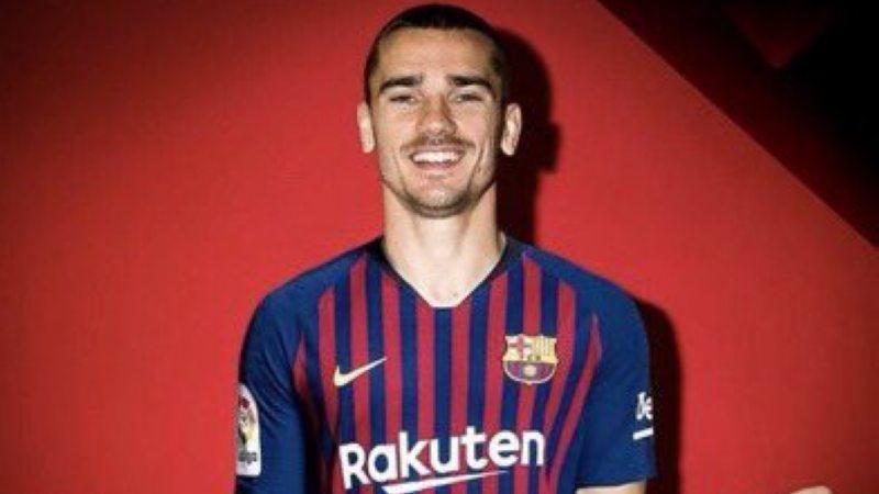 Antoine Griezmann dengan ilustrasi menggunakan jersey Barcelona Copyright: twitter.com/MHChehade