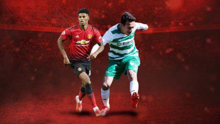 Marcus Rashford, bintang muda Manchester United dan Egy Maulana Vikri, bintang Timnas Indonesia di Lechia Gdansk punya peluang untuk saling bertemu di Liga Europa 2019/20. - INDOSPORT
