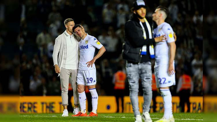 Tim Leeds United tertunduk lesu usai dikalahkan Derby Country di stadion Elland Road Rabu 15/05/19. Alex Dodd - CameraSport via Getty Images Copyright: Alex Dodd - CameraSport via Getty Images