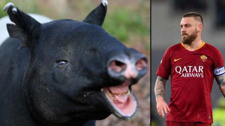 Seekor tapir dan legenda AS Roma, Daniele de Rossi. - INDOSPORT