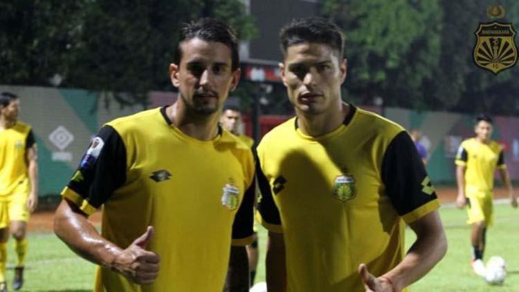 Dua pemain baru Bhayangkara FC untuk Liga 1 2019, Flavio Beck Junior (kiri) dan Ramiro Fergonzi. Copyright: Instagram.com/bhayangkarafc