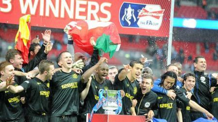 Selebrasi kemenangan Wigan usai kalahkan Manchester City di final Piala FA,  Anthony Devlin - PA Images - INDOSPORT