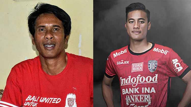 Kolaborasi ayah-anak, Made Pasek Andhika dan Made Andhika di Bali United. Foto: superball.bolasport/bali united Copyright: superball/bolasport/bali united