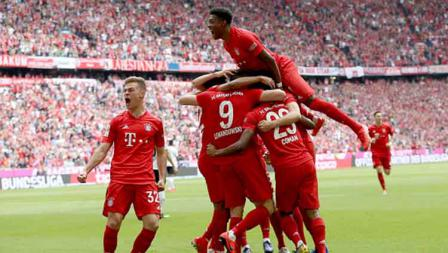 Aksi selebrasi pemain Bayern Munchen usai Kingsley Coman mencetak gol. TF-Images/Getty Images