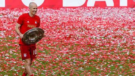 Akhir yang manis dari Arjen Robben saat menutup kariernya di Bayern Munchen pada musim 2018-19.