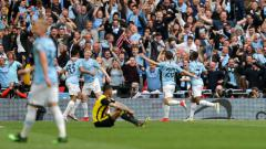 Indosport - Selebrasi para pemain Manchester City.