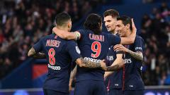 Indosport - Selebrasi para pemain PSG saat unggul atas Dijon di babak pertama.