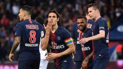 Indosport - Selebrasi para pemain PSG saat unggul atas Dijon.