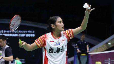 Gregoria Mariska Tunjung, pebulutangkis tunggal putri Indonesia, berhasil melaju ke babak kedua Fuzhou China Open 2019, usai mengalahkan wakil Amerika Serikat, Beiwen Zhang 22-20, 19-21, 21-17. - INDOSPORT