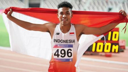 Lalu Muhammad Zohri saat menjadi juara di ajang Asian Championships di Doha Qatar pada April 2018. (Foto: instagram.com/zohri.lalumuhammad) - INDOSPORT