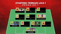 Indosport - Starting terbaik Kompetisi Liga 1 2019 pekan ke-1.