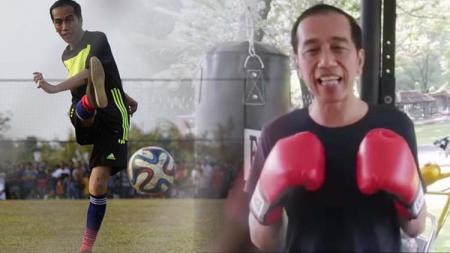 Presiden Indonesia petahana, Jokowi saat melakukan latihan tinju dan sepak bola - INDOSPORT