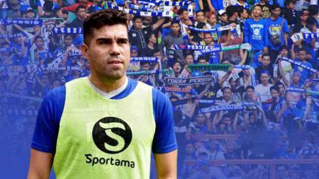 Fabiano Beltrame dengan background Bobotoh - INDOSPORT