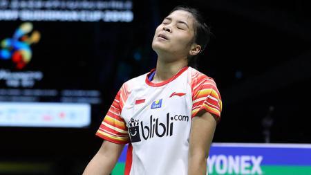 Gregoria Mariska Tujung tak mampu menunjukkan kualitasnya sebagai pebulutangkis tunggal putri terbaik Indonesia saat ini. - INDOSPORT