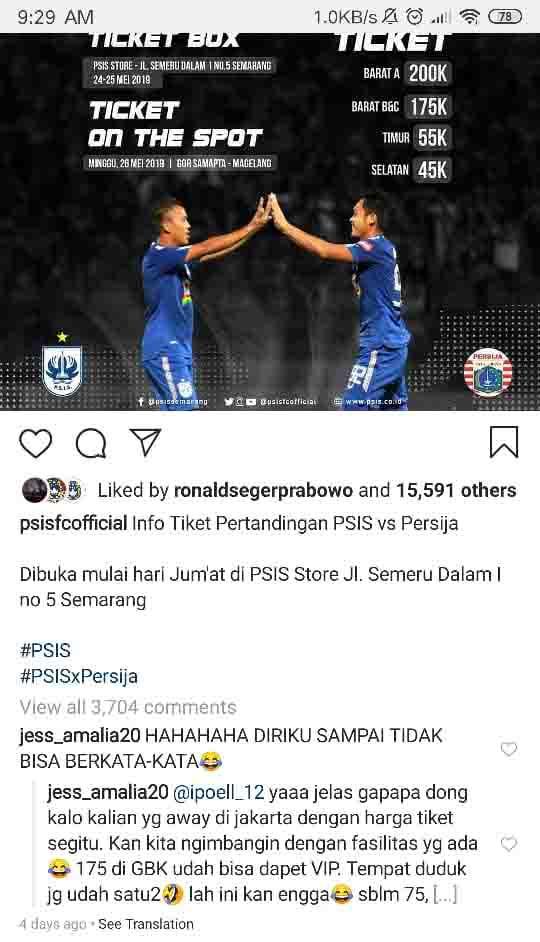 Info tiket pertandigan PSIS Semarang vs Persija Jakarta Copyright: PSIS Semarang