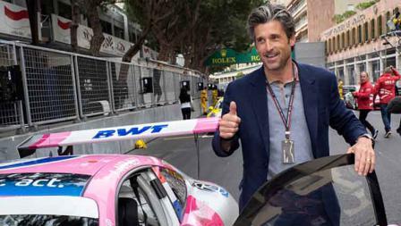 Aktor berkebangsaan Amerika Serikat, Patrick Dempsey menyaksikan balapan Formula 1 Grand Prix Monaco. Arnold Jerocki/FilmMagic
