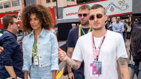 Marco Verratti nonton balapan Formula 1 bersama kekasihnya di GP Monaco. Arnold Jerocki/FilmMagic