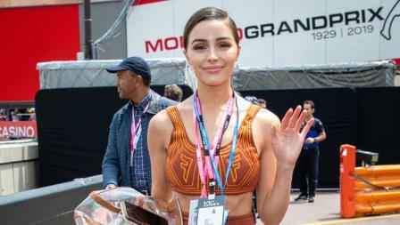 Miss Universe 2012, Olivia Culpo menonton langsung balapan Formula 1 GP Monaco. Marc Piasecki/WireImage