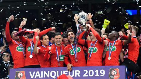Stade Rennais saat menjuarai Coupe de France dan mengalahkan Paris Saint-Germain (Foto: eurosport.fr) - INDOSPORT