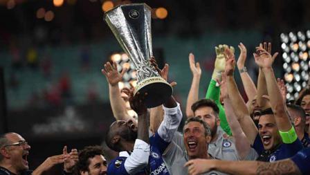 Selebrasi para pemain Chelsea juara Liga Europa usai kalahkan Arsenal, 29/05/19. OZAN KOSE/AFP/Getty Images