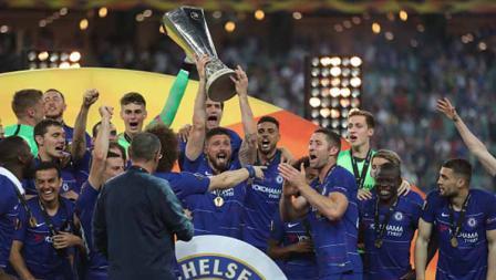 Kemeriahan tim Chelsea merayakan kemenangan juara Liga Europa, 29/05/19. Resul Rehimov/Anadolu Agency/Getty Images