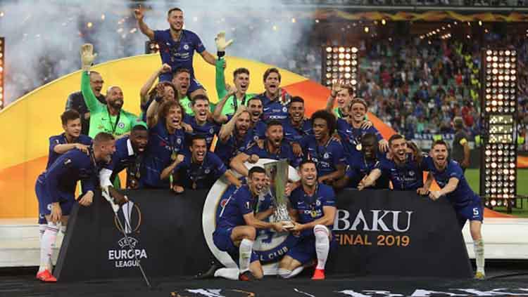 Kemeriahan tim Chelsea merayakan kemenangan juara Liga Europa, 29/05/19. Resul Rehimov/Anadolu Agency/Getty Images Copyright: Resul Rehimov/Anadolu Agency/Getty Images