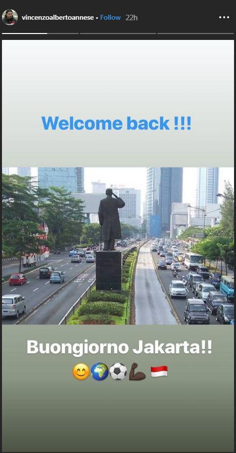 Unggahan Vincenzo Alberto Annese yang tiba di Jakarta Copyright: instagram.com/vincenzoalbertoannese