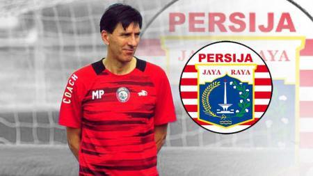 Milan Petrovic dan logo Persija Jakarta. - INDOSPORT