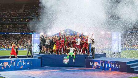 Kemeriahan di acara pesta kemenangan Liverpool sebagai juara Liga Champions. TF-Images/Getty Images