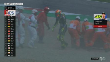 Valentino Rossi jatuh di GP Italia 2019. - INDOSPORT