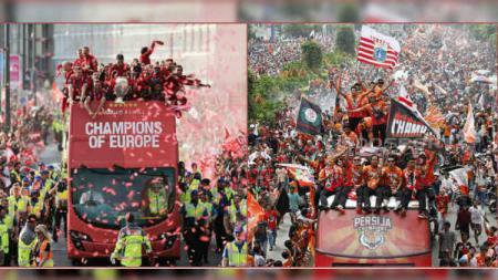Konvoi juara Liverpool dan Persija Jakarta. - INDOSPORT