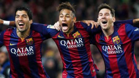 Lionel Messi, Luis Suárez dan Neymar. Foto: squawka - INDOSPORT