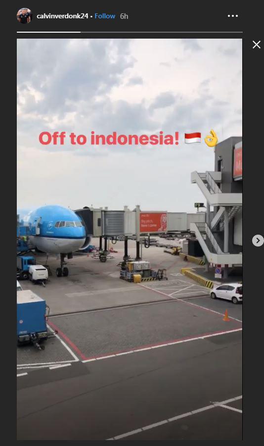 Calvin Verdonk memberikan kabar dirinya akan melakukan perjalanan ke Indonesia Copyright: https://www.instagram.com/calvinverdonk24/