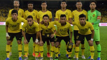 Skuat Timnas Malaysia saat pertandingan putaran pertama Kualifikasi Piala Dunia 2022 zona Asia. (Foto: fam.org.my) - INDOSPORT