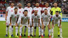 Indosport - Timnas Yordania saat menghadapi Slovakia, Sabtu (08/06/19) dini hari WIB.