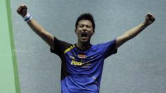 Indosport - Cai Yun selebrasi usai menumbangkan Lee Yong Dae/Kim Sa Rang di Piala Thomas 2012.