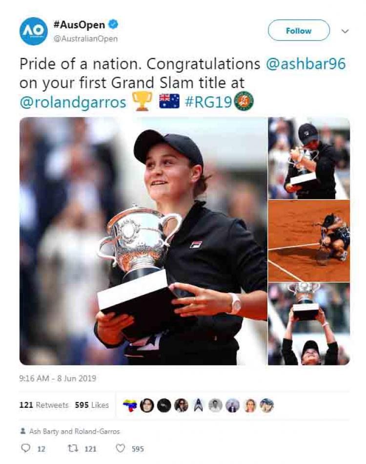 Twitter Australia Open 2019 memberikan ucapan selamat kepada Ash Barty saat berhasil menjadi juara Prancis Terbuka 2019. Copyright: Twitter Australia Open 2019