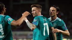 Indosport - Marco Reus berhasil menggandakan keunggulan Jerman atas Belarusia.