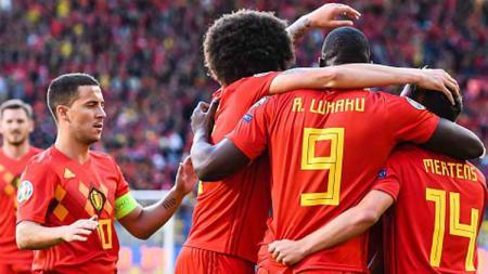 Selebrasi para pemain Belgia saat unggul atas Kazakhstan. - INDOSPORT
