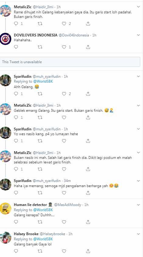 Galang Hendra Pratama mendapat kritikan dari para netizen Tanah Air. Copyright: Twitter WorldSBK